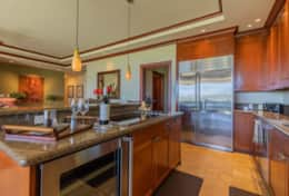 African Mahogany cabinetry, Viking & Sub-zero appliances, Granite countertops