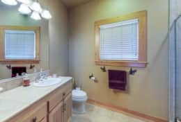 Downstairs bathroom shared between King bed bedroom and Twins bedroom