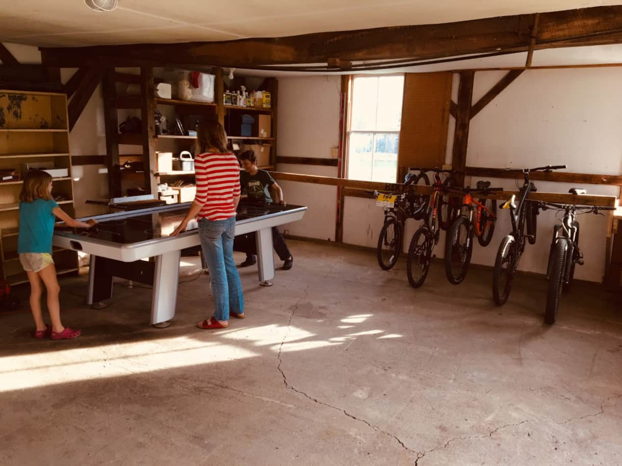 Saltbox Garage Game Room with Air Hockey, Pool, and Foosball Tables