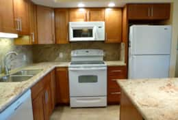 Roomy kitchen with quiet dishwasher, microwave, stove top and oven