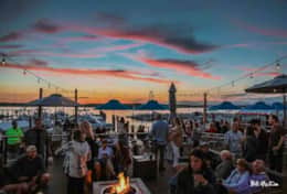 Marina Grille is a popular restaurant at the marina across the street. Best sunset at the shore!