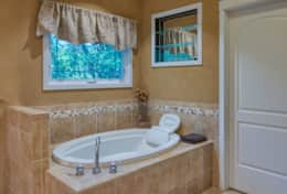 The soaking tub in the master bath is the perfect way to relax at the end of the day!