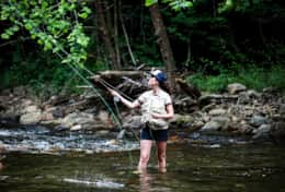 Fly fishing at treehouse cabins