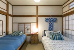 Bedroom 1- double bed & single bed, Japanese decor |Samurai House Tokyo Family Stays |Spacious