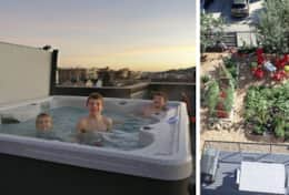 Plum's rooftop hot tub with garden below