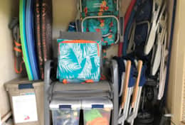 Lanai Share Closet include Beach Chairs, Umbrella, Beach Cart, Sand Toys.
