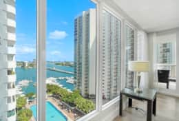 Living room, balcony access, cable tv, amazing views of Biscayne Bay