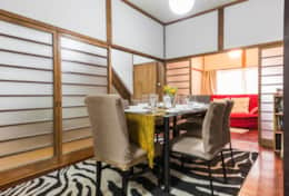 Dining space that opens onto sitting room|Samurai House Tokyo Family Stays |Spacious