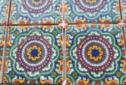 Mexican tile on the bar table