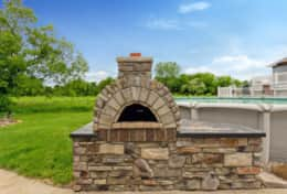 Huge outdoor brick oven great for family pizza night