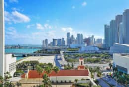 Fully furnished balcony with amazing views of downtown Miami and Biscayne Bay