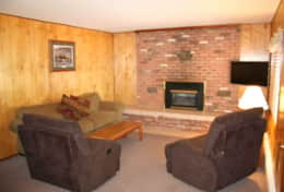 cabin 10 living room fireplace and sleeper sofa