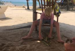 Fun in the sand under a palapa on the private beach