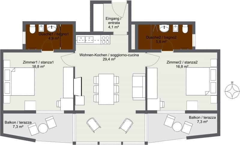 Apartment 3 - Level 1 - 2D Floor Plan