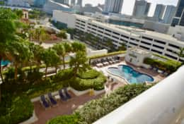 Furnished balcony with great views of downtown Miami and Biscayne Bay