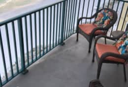 Balcony with seating for four