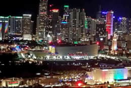 Night city view of Downtown Miami