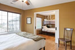 Queen bedroom separated by sliding doors