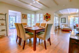 The Bright and Airy Dining Room has Kitchen Access and Beautiful Views to the Private Front Patio