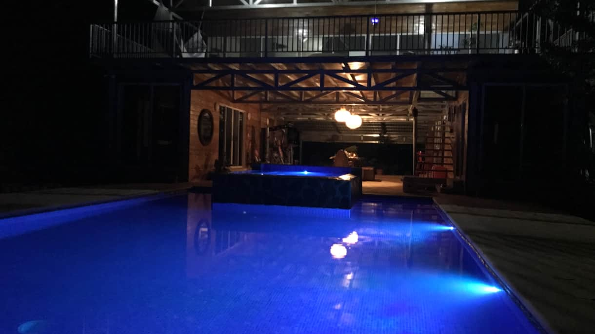 Naked Ashram AirB&B Pool at Night