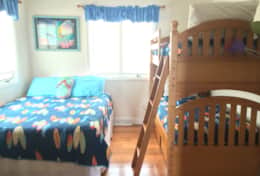 Queen bed with twin bunk bed and 42