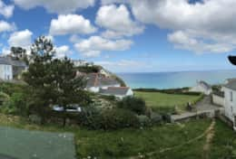 Panoramic view from Sea Witch, showing close proximity to Beachcliff and Little Perhaver cottages