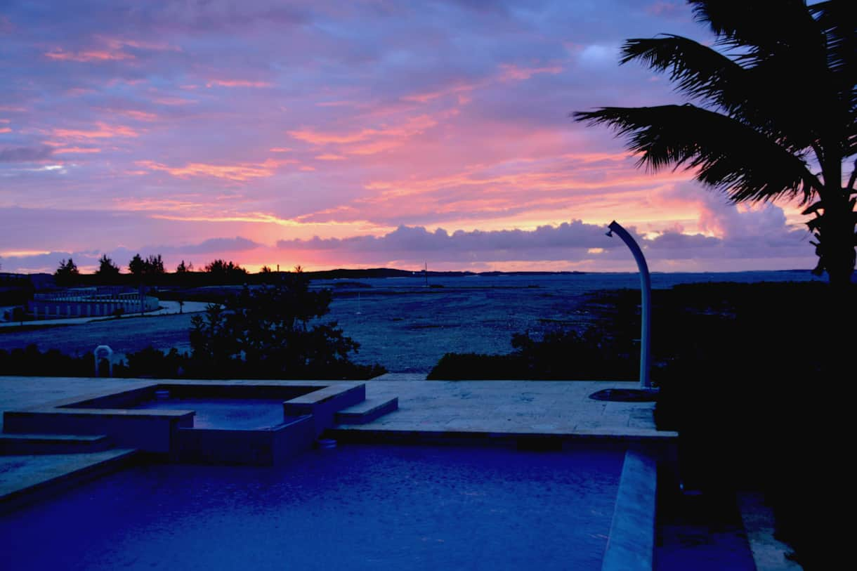 Villa XXI Exuma Sunset from Splash Deck