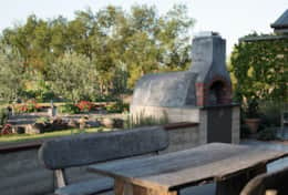 Outdoor area and pizza oven