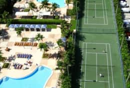 Aerial View of Swimming pool and tennis courts