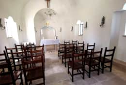 Inside if the chapel with few seatings