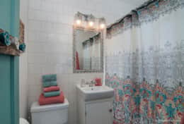 There's 1 Bathroom with tub/shower combo. Access to the bathroom is via bedroom.
