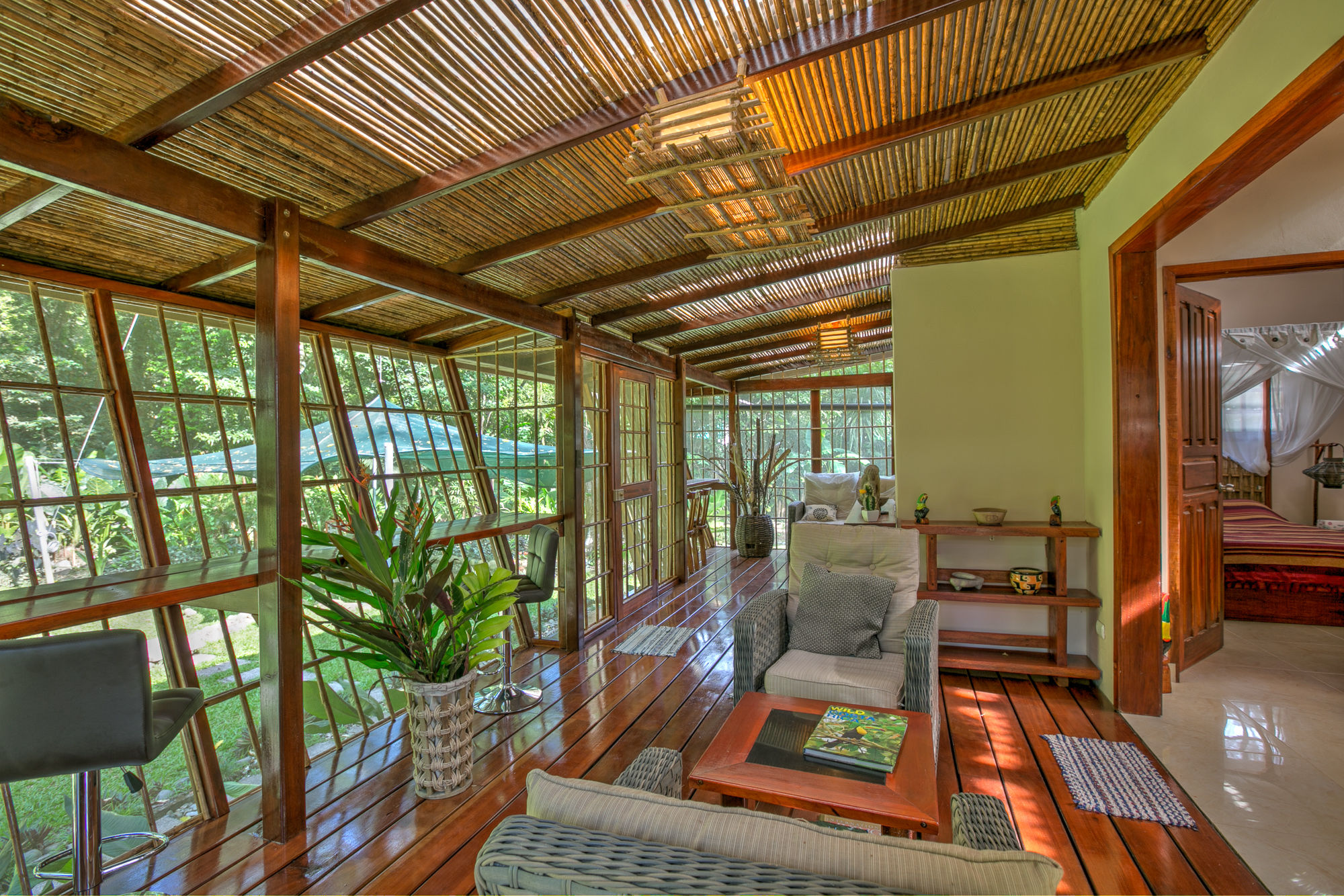 Jungle Villa #1 - Lounge in vacation villa with garden view at Caribbean coast
