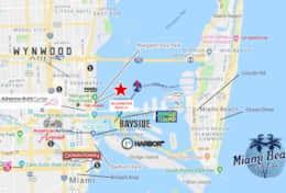 Area map of dowtown Miami and Miami Beach