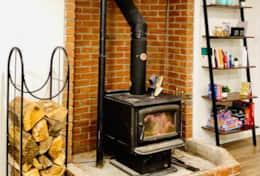 Indoor woodstove fireplace