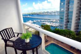 Views of Biscayne bay from private 2nd bedroom furnished balcony