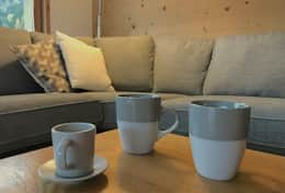 Coffee cups in sitting room