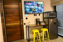 55 inch Smart TV, fridge, microwave, coffee maker