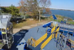 View of the playground across the street from the home