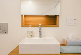 Sink with recessed storage and night light