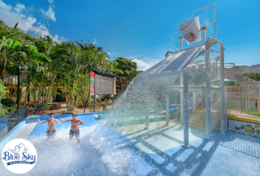 Splash Zone Water Park with dumping water bucket & slides
