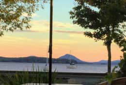 Sunset at one of the terraces along Lac Memphremagog