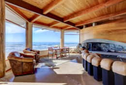 The gas fireplace and incredible views