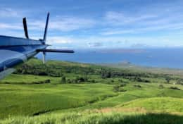 Helicopter ride to Molokai, W. Maui Mtns and Champagne on the slopes of Haleakala