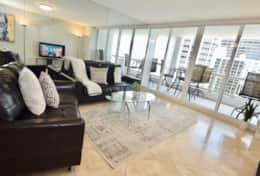 Living room, balcony access, Roku streaming tv, amazing views of Biscayne Bay