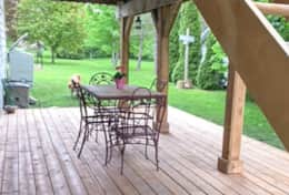 Patio with dining table and will have more seating