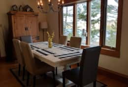 The dining table seats six.