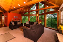 Living room/view, The Galena Log Home, Galena IL - Vacation Rental Home