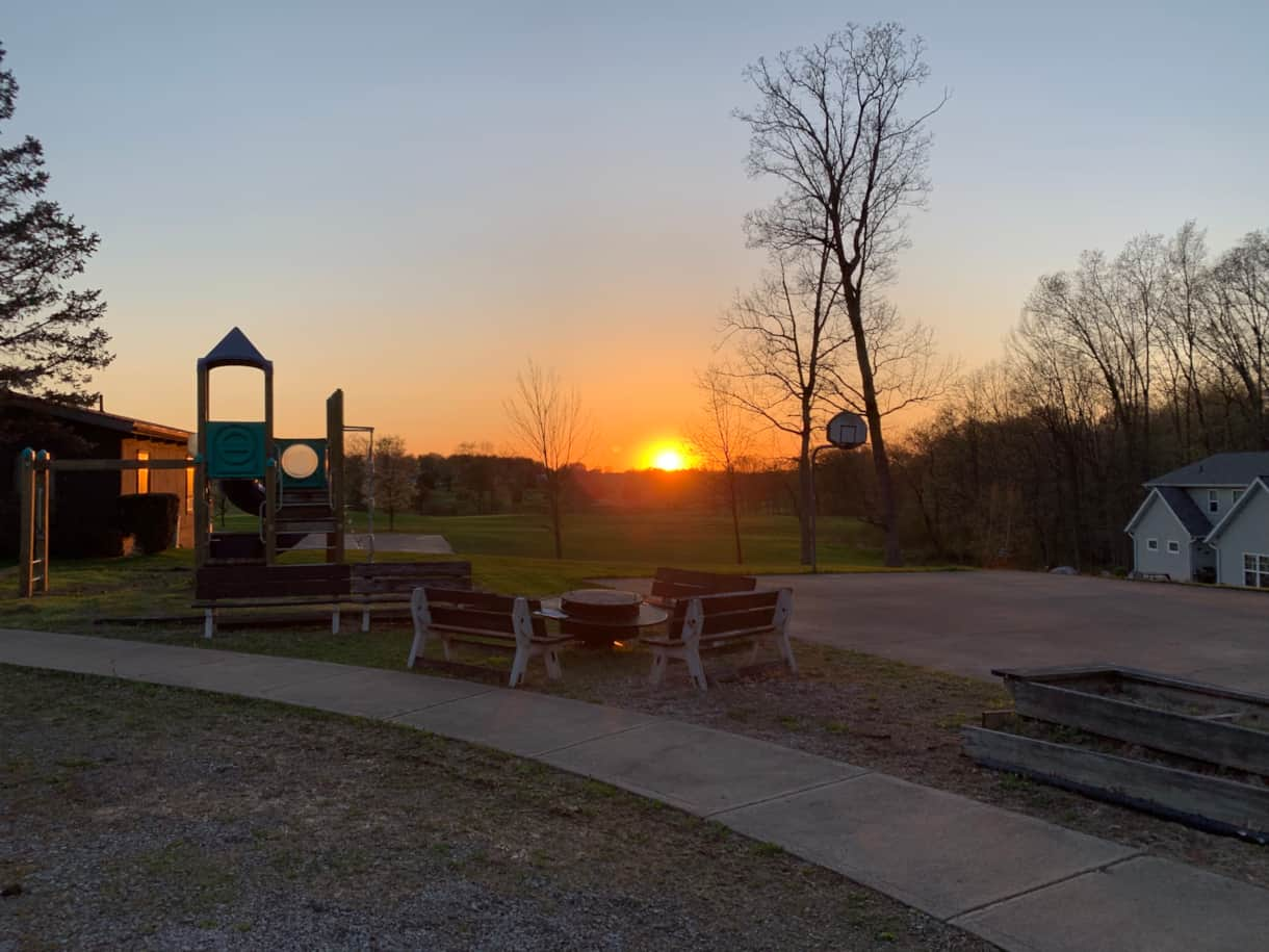 Playground/Firepit at Sunset