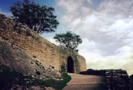 an entrance to the castle