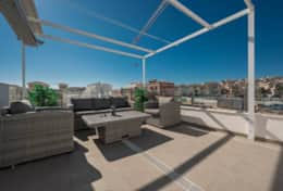 Roof terrace with sofa group